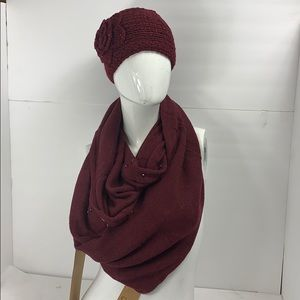 Burgundy infinity scarf with head warmer